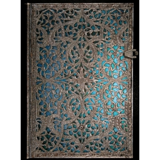 Journal diary Paperblanks - Silver Filigree : Maya Blue - MIDI