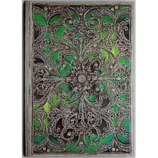 Journal diary Paperblanks - Silver Filigree : Esmeralda - MIDI
