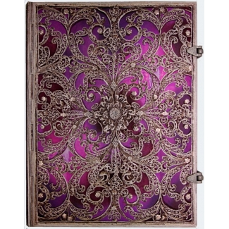 Journal diary Paperblanks - Silver Filigree Collection : Aubergine - ULTRA