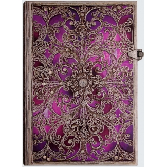 Carnet d'écriture Paperblanks : Collection Filigrane Argenté : Aubergine - Carnet MIDI