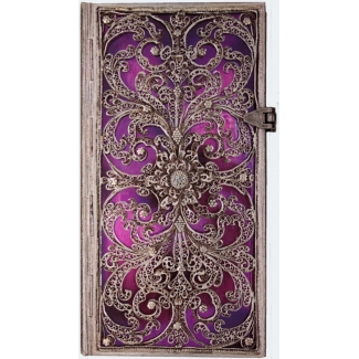 Journal diary Paperblanks - Silver Filigree Collection : Aubergine - SLIM