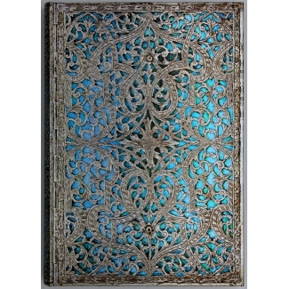 Paperblanks Address book - Silver Filigree Collection : Maya Blue - MIDI