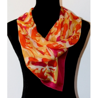 Jean Pompon Square scarf - Les animaux (Coral) (unfolded)