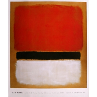 Mark Rothko poster - Red Black white on yellow 1955