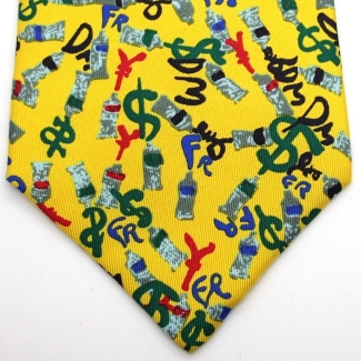Arman Silk tie - Currency (yellow)