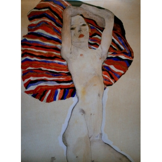 Lámina Egon Schiele - Act Against Coloured Material