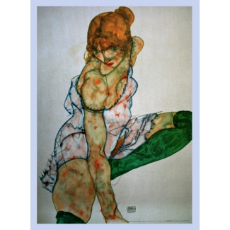 Egon Schiele Art Print - Blond girl with green stockings