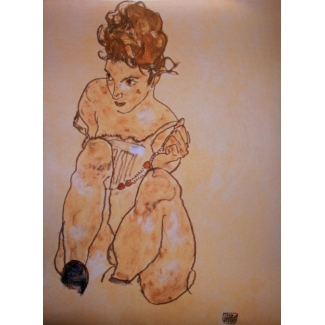 Egon Schiele Art Print - Nude with the necklace