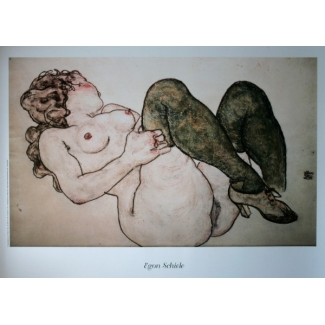 Egon Schiele Art Print - Nude with Green Stockings