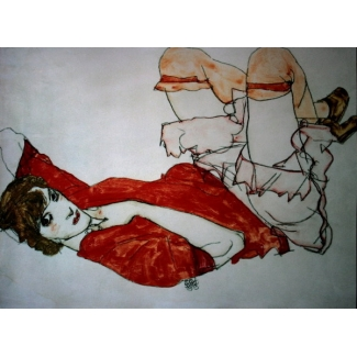 Egon Schiele Art Print - Wally knees lifted up in a red blouse