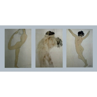 Auguste Rodin Art Print - Tryptic : Dancer The kiss nude back view