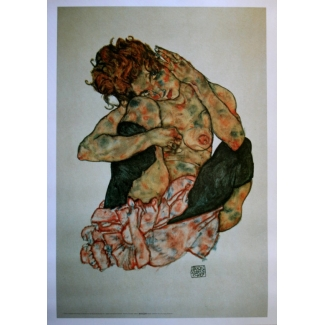 Egon Schiele Art Print - Crouching Nude Girl with Cheek Resting on Right Knee