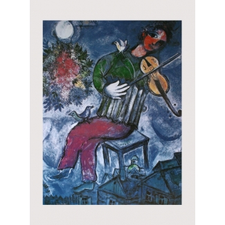Marc Chagall Art Print - The blue violinist