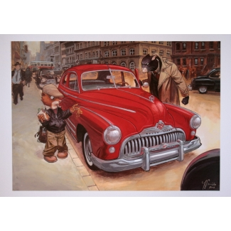 Juanjo Guarnido Art Print -  Blacksad red car