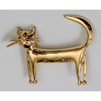 Jean Cocteau brooch : The cat (gold)