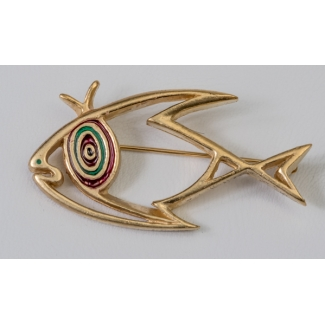Jean Cocteau brooch : The fish (gold)