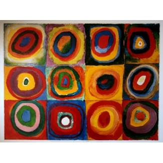 Kandinsky puzzle - Squares and concentric circles