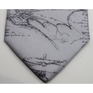 Silk tie - Leonardo Da Vinci - Codex (grey)