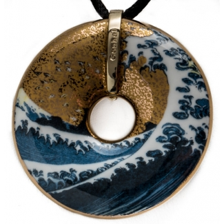 Hokusai Porcelain pendant : The Great Wave