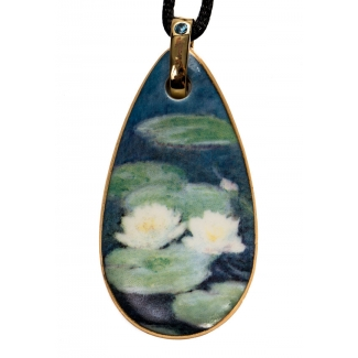 Pendentif en porcelaine Claude Monet : Nympheas