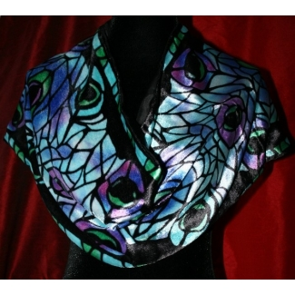 Silk velvet scarf - Tiffany - Paon (Blue)