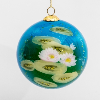 Claude Monet glass ball christmas ornament : Nympheas day