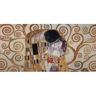 Gustav Klimt Art Print - The kiss and Tree of life (natural)