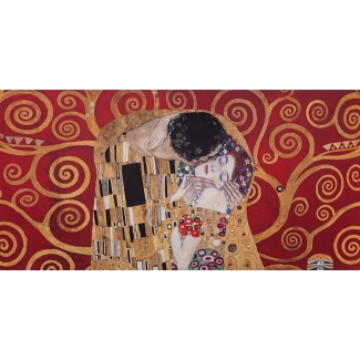 Gustav Klimt Art Print - The kiss and Tree of life (red)