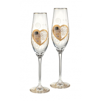 Set of 2 Gustav Klimt Champagne glasses : Heart Kiss