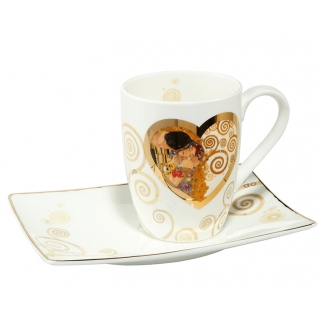 Gustav Klimt mug and saucer : Heart Kiss