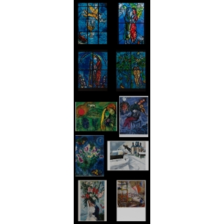 10 Marc Chagall postcards (Stained-glass windows)